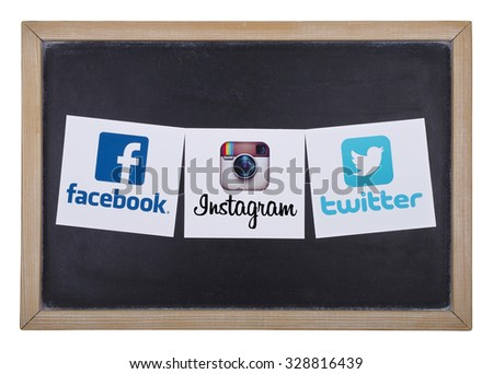 KIEV, UKRAINE - OCTOBER 15, 2015:Facebook, Twitter; Instagram logos printed on paper and placed on a blackboard. - stock photo