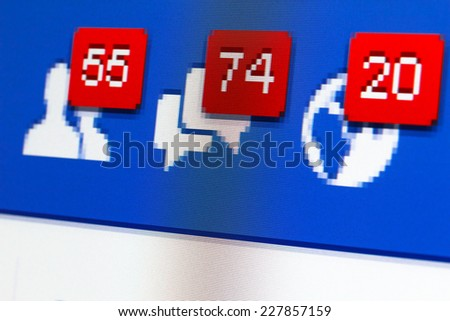 KIEV, UKRAINE - October 29: Facebook web page macro closeup with notifications of new friends request and messages, shallow dof, in Kiev, Ukraine, on October 29, 2014. - stock photo