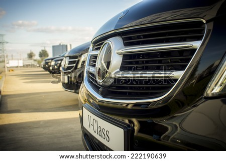 Kiev, Ukraine - October 1, 2014: 2014 Mercedes-Benz V-Class presented at the Automobile downtown Atlanta, when the official Mercedes Benz ukraina.Atlant, Kiev, Ukraine. - stock photo