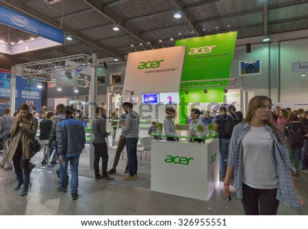 KIEV, UKRAINE - OCTOBER 11, 2015: People visit Acer, a Taiwan based international computer company booth during CEE 2015, the largest electronics trade show of Ukraine in ExpoPlaza Exhibition Center.