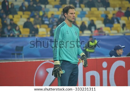 KIEV, UKRAINE - OKT 20: Asmir Begovic during the UEFA Champions League match between Dinamo Kiev vs Chelsea (London, England), 20 October 2015, Olympic NSC, Ukraine