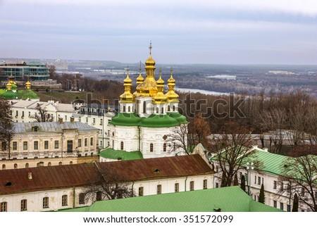 Kiev, Ukraine. Pechersk Lavra Monastery and river Dniepr - stock photo