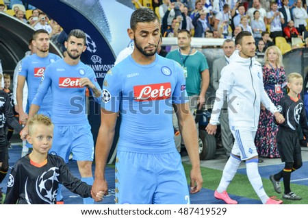 Kiev, UKRAINE - SEP 13, 2016: Faouzi Ghoulam during the UEFA Champions League match between Dynamo Kiev vs SSC Napoli, NSC Olympic stadium, 13 September 2016, Ukraine