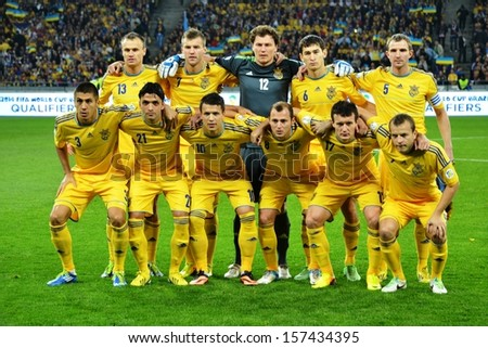 KIEV, UKRAINE - SEP 10: Group photo football team of Ukraine during the qualifying match 2014 World Cup between Ukraine vs England, 10 September 2013, NSC Olympic Stadium, Kiev, Ukraine - stock photo