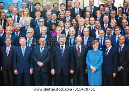 KIEV, UKRAINE - Sep 11, 2015: Group photo of participants of the 12th Annual Meeting of Yalta European Strategy (YES)