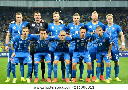 KIEV, UKRAINE - SEP 8: Group photo of the Slovakian team before the match Ukraine 0-1 Slovakia UEFA Euro 2016 qualifier match at the Olympic stadium, 8 September 2014, Kiev, Ukraine - stock photo
