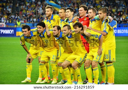 KIEV, UKRAINE - SEP 8: Group photo of the Ukrainian national team before the match Ukraine 0-1 Slovakia UEFA Euro 2016 qualifier match at the Olympic stadium, 8 September 2014, Kiev, Ukraine - stock photo