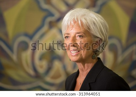 KIEV, UKRAINE - Sep 06, 2015: Managing Director of the International Monetary Fund, Christine Lagarde, during a meeting with President of Ukraine Petro Poroshenko in Kiev - stock photo