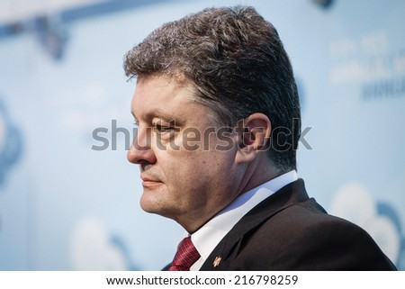 KIEV, UKRAINE - Sep 12, 2014: President of Ukraine Petro Poroshenko at the opening of the 11th Annual Meeting of Yalta European Strategy (YES)
