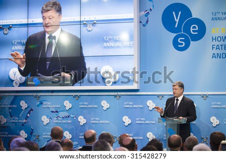 KIEV, UKRAINE - Sep 11, 2015: President of Ukraine Petro Poroshenko at the opening of the 12th Annual Meeting of Yalta European Strategy (YES)