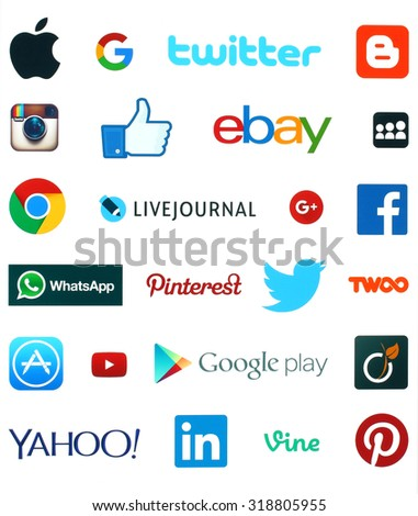 KIEV, UKRAINE - SEPTEMBER 19, 2015:Collection of popular social media logos:Facebook, Twitter, Google Plus, Instagram, Livejournal, WhatsApp, Pinterest, Blogger and others printed on white paper.