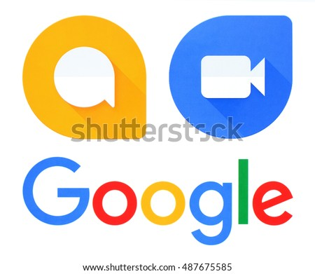 Kiev, Ukraine - September 21, 2016: Google, Allo and Duo logos printed on white paper. Allo is an instant messaging mobile app developed by Google. Duo is a video chat mobile app