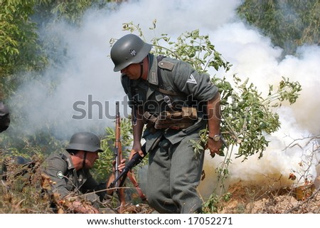 KIEV ,UKRAINE. September 5-6 , 2008. Military history club  . Historical military reenacting. Kiev  occupation by german troops at WWII tine. Battle for defense line of Stalin. WW2 reenacting