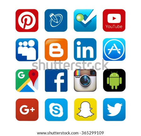 KIEV, UKRAINE - SEPTEMBER 22, 2015: Set of most popular social media icons: Twitter,linkedin,Youtube, Pinterest, Instagram, Facebook, Skype, Google Plus, Blogger  Snapchat,and others printed on paper. - stock photo
