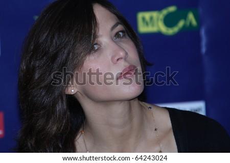 """KIEV, UKRAINE - SEPTEMBER  23: Sophie Marceau arrives at the  press conference film """" L'homme de chevet""""  40th  Film Festival """"Molodist"""" on September 23, 2010 in Kiev, Ukraine - stock photo"""