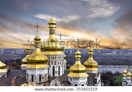 Kiev, Ukraine. Sunset view on Pechersk Lavra Monastery - stock photo