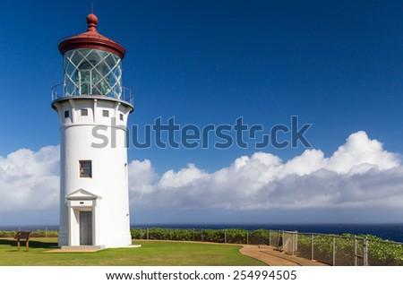 Kilauea Light House, at Kilauea Point National Wildlife Refuge, located on the north shore of Kauai, Hawaii, built in 1913. - stock photo