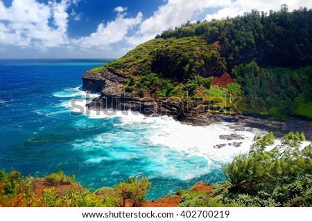 Kilauea lighthouse bay on a sunny day in Kauai, Hawaii - stock photo