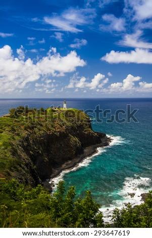 Kilauea lighthouse on a sunny day in Kauai, Hawaii Islands.  - stock photo