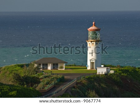 Kilauea Point lighthouse on the island of Kauai, Hawaii. - stock photo