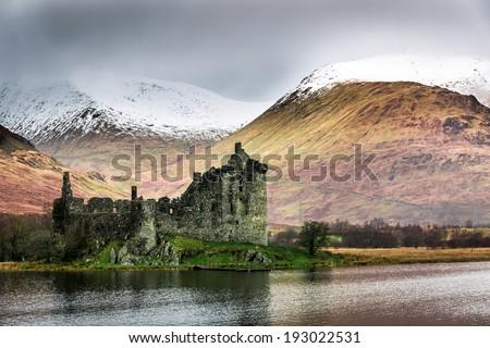 Kilchurn Castle in Winter - stock photo