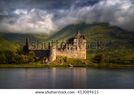 Kilchurn Castle reflections in morning light,, Highlands, Scotland - stock photo
