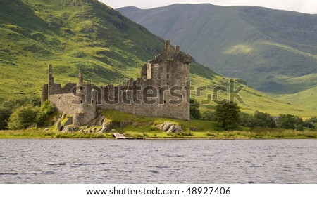 Kilchurn Castle standing on the shore of Loch Awe.
