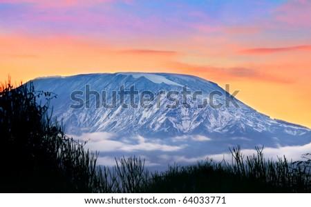 Kilimanjaro at sunrise, Amboseli national park, Kenya, Africa - stock photo