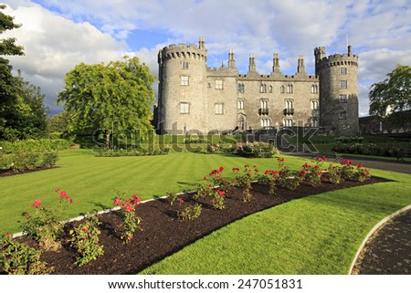 Kilkenny, Ireland - August 23, 2014: Kilkenny Castle. Historic landmark in the town of Kilkenny in Ireland