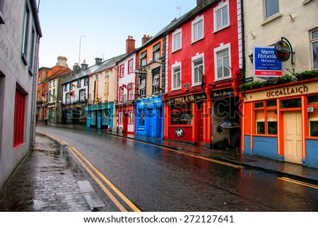 KILKENNY, IRELAND - NOVEMBER 21, 2014: Center of a small city in Leinster Province with different bars and pubs. It is a popular touristic destination - stock photo