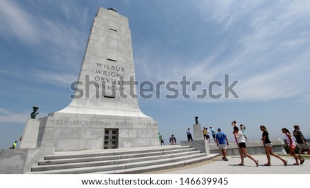 KILL DEVILS HILLS, NC - JULY 18: Wright Brothers National Memorial located where the first powered flight took place on July 18, 2013 in Kill Devils Hills, North Carolina. - stock photo