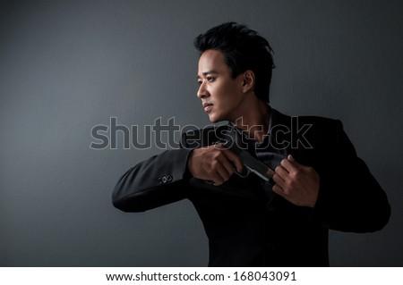Killer Man With Gun Killer And Spy Man Hold Gun