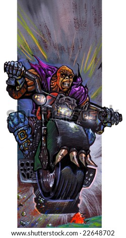 Killer Rider Illustration - stock photo