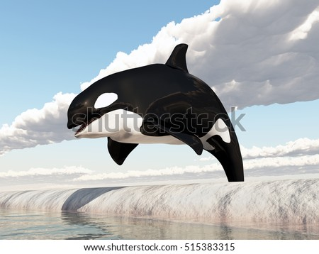 Killer whale jumping over an obstacle Computer generated 3D illustration