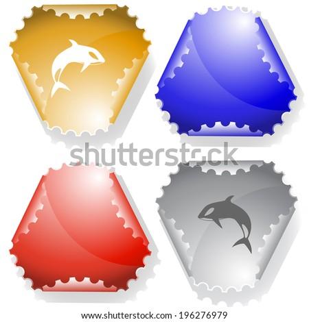 Killer whale. Raster sticker. Vector version is in my portfolio. - stock photo