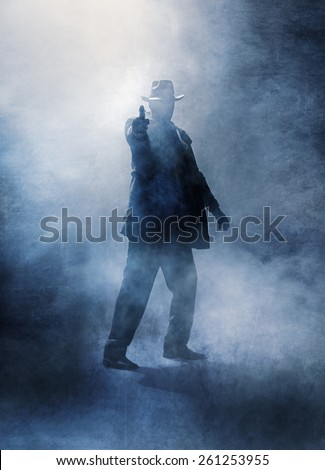 Killer without a face in haze, pointing a gun at the camera.