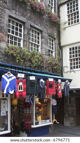 Kilt Shop On The Royal Mile (Lawnmarket), Edinburgh, Scotland - stock photo