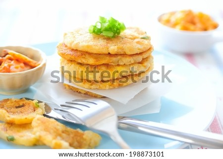 Kim Chi Potato Pancakes Pan Fried Potato Pancakes That Contain A Mixture Of Mashed Potatoes