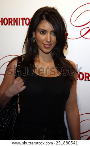 Kim Kardashian arrives to the opening of Beso Restaurant held at the Beso in Hollywood, California, United States on March 6, 2008.  - stock photo