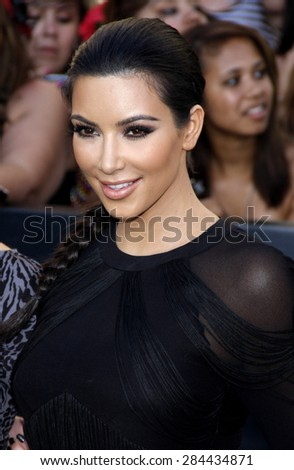 Kim Kardashian at the Los Angeles premiere of 'The Twilight Saga: Eclipse' held at the Nokia Theatre L.A. Live in Los Angeles on June 24, 2010.  - stock photo