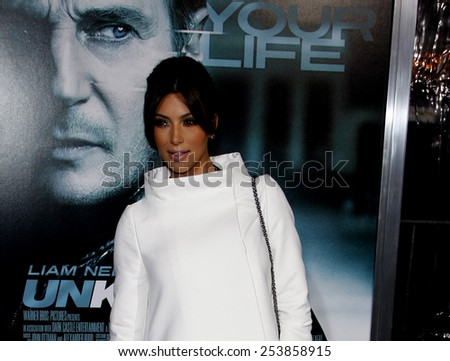 "Kim Kardashian at the Los Angeles Premiere of ""Unknown"" held at the Regency Village Theatre in Los Angeles in Los Angeles, California, United States on February 16, 2011. - stock photo"