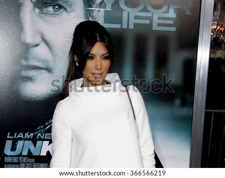 """Kim Kardashian at the Los Angeles Premiere of """"Unknown"""" held at the Regency Village Theatre in Los Angeles in Los Angeles, California, United States on February 16, 2011.  - stock photo"""