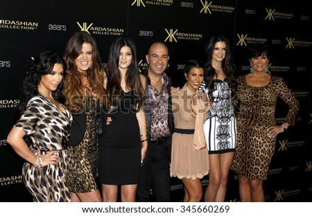 Kim Kardashian, Khloe Kardashian, Kourtney Kardashian, Kris Jenner, Kendall Jenner and Kylie Jenner at the Kardashian Kollection Launch Party held at the Colony in Hollywood, USA on August 17, 2011. - stock photo