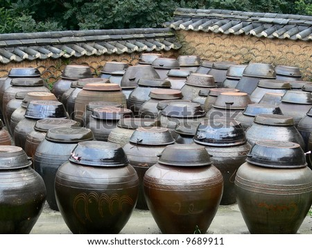 Kimchee pots, Seoul, South Korea - stock photo