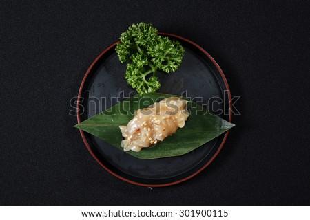 Kimchi Chuka Hotate Sushi - japanese food style - stock photo