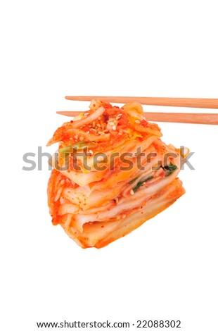 Kimchi isolated on white - stock photo