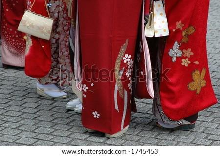 kimono girls - stock photo
