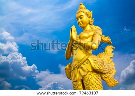 kinaree, a mythology figure, is watching the temple in the Grand Palace Bangkok Thailand - stock photo