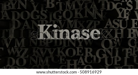 Kinase - Stock image of 3D rendered metallic typeset headline illustration.  Can be used for an online banner ad or a print postcard.
