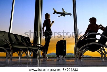 Kind from a window at the airport - stock photo
